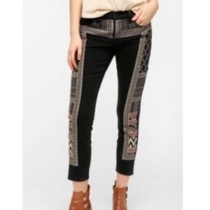 BDG Twig Black Embroidered Tribal Jeans Sz 28